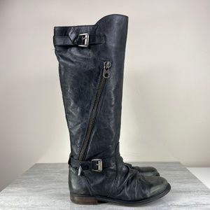 Steve Madden Lukas Black Leather Riding Boots